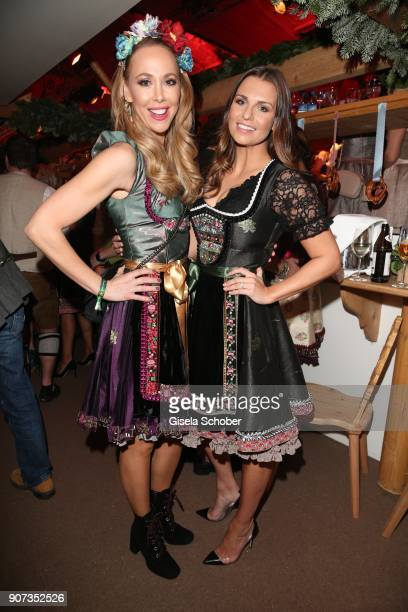 Sylvia Walker and Laura Wontorra wearing a dirndl by Lola Paltinger during the 27th Weisswurstparty at Hotel Stanglwirt on January 19 2018 in Going...