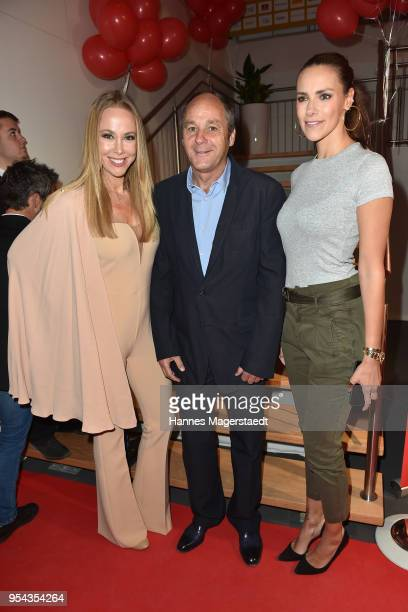 Sylvia Walker Gerhard Berger and Esther Sedlaczek attend the BILD Muenchen Newspaper 50th anniversary party at MTTC IPHITOS on May 3 2018 in Munich...