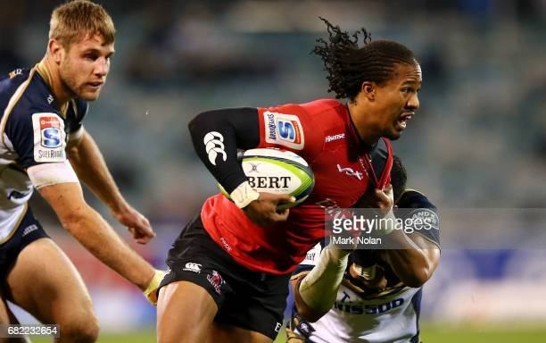 Sylvian Mahuza of the Lions is tackeld during the round 12 Super Rugby match between the Brumbies and the Lions at GIO Stadium on May 12, 2017 in...