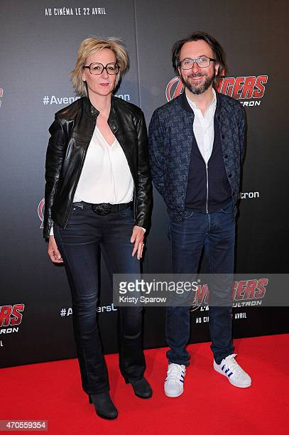 Sylvie Adigard and Alex Jaffray attend the 'Avengers L'Ere D'Ultron' Paris Premiere at Cinema UGC Normandie on April 21 2015 in Paris France