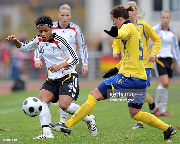 Sylvie Banecki of Germany battles for the ball with Lina Nilson of Sweden during the women international friendly match between U20 Germany and U23...