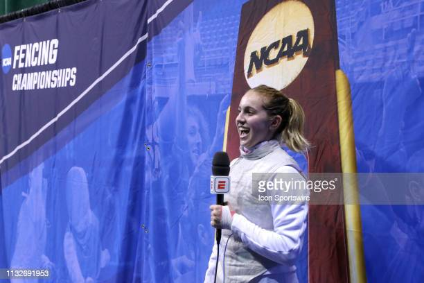 Sylvie Binder of Columbia is interviewed after winning the championship in Women's Foil at the National Collegiate Fencing Championships on March 24...