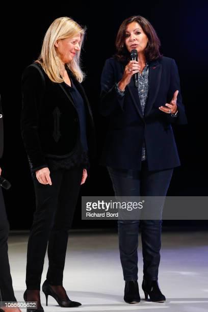 Sylvie Douce and Anne Hidalgo speak during 'Salon Du Chocolat Paris 2018' at Parc des Expositions Porte de Versailles on October 30 2018 in Paris...