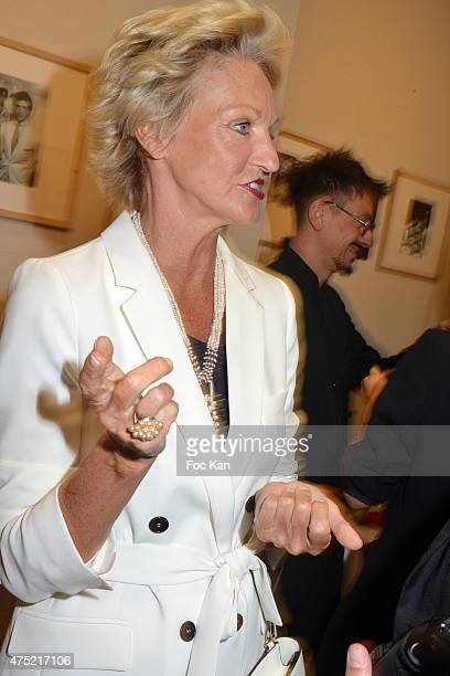 Sylvie Elias Marshall and Mia Frye attend the 55 portraits of Massimo Gargia Photo Exhibition at Galerie 55 Belchasse on May 29 2015 in Paris France