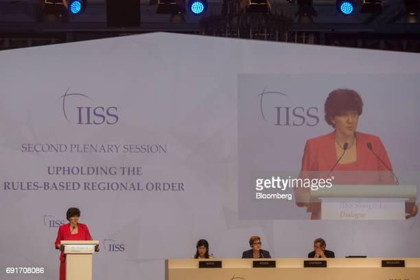 Sylvie Goulard France's defense minister from left speaks as Tomomi Inada Japan's defense minister Marise Payne Australia's defense minister and John...