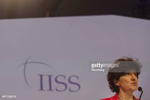 Sylvie Goulard France's defense minister speaks during the IISS ShangriLa Dialogue Asia Security Summit in Singapore on Saturday June 3 2017 China's...