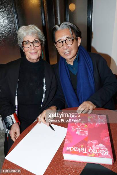 Sylvie Grumbach and Kenzo Takada attend the Kenzo Takada Book Signing during 'Azzedine Alaia Collectioneur Adrian et Alaia L'art du tailleur'...