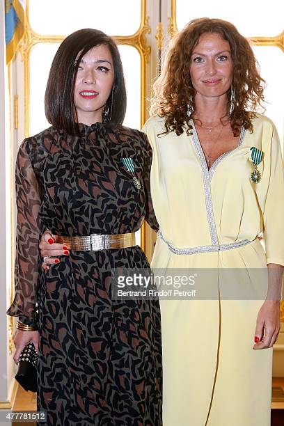 Sylvie Hoarau and Aurelie Saada attend French minister of Culture and Communication Fleur Pellerin gives Medal of 'Knight of Arts and Letters' to...