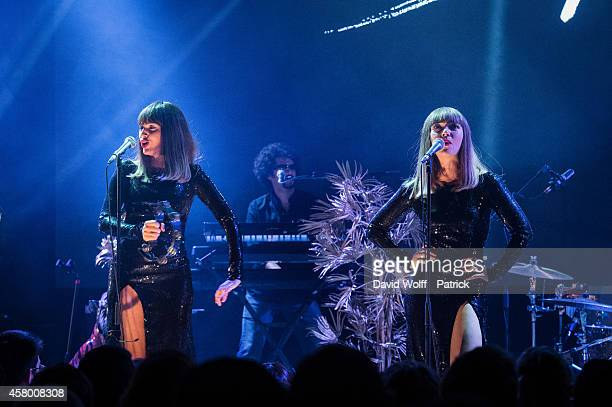 Sylvie Hoarau and Aurelie Saada from Brigitte perform during Creative Live Session at Yoyo at on October 28 2014 in Paris France