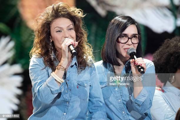 Sylvie Hoarau and Aurelie Saada from Brigitte perform during the 33rd Victoires de la Musique 2018 at La Seine Musicale on February 9 2018 in...