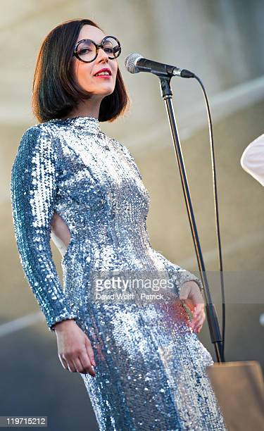 Sylvie Hoarau from Brigitte performs at Festival Fnac Live at Parvis De L'Hotel de Ville on July 23 2011 in Paris France