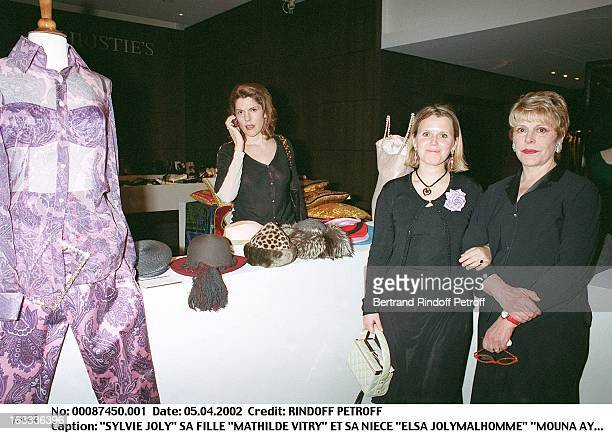 Sylvie Joly Her daughter Mathilde Vitry and her niece Elsa Jolymalhomme Mouna Ayoud presents her new collection at Christie's in Paris
