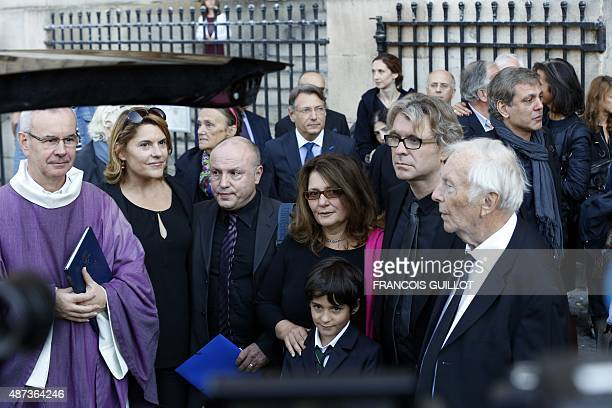 Sylvie Joly's children her son Gregoire Joly her daughter Mathilde her husband Pierre Vitry and relatives leave the funeral ceremony of French...