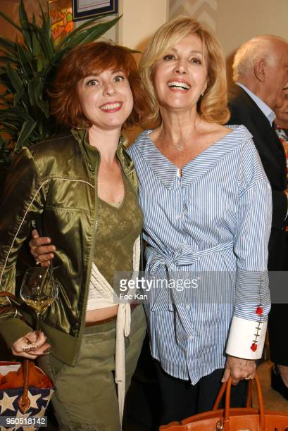 Sylvie Malys and TV presenter Fabienne Amiach attend 'Les Pensees de Smain' Book Signing et Lee Michel Paintings Preview at Villa Foch on April 23...