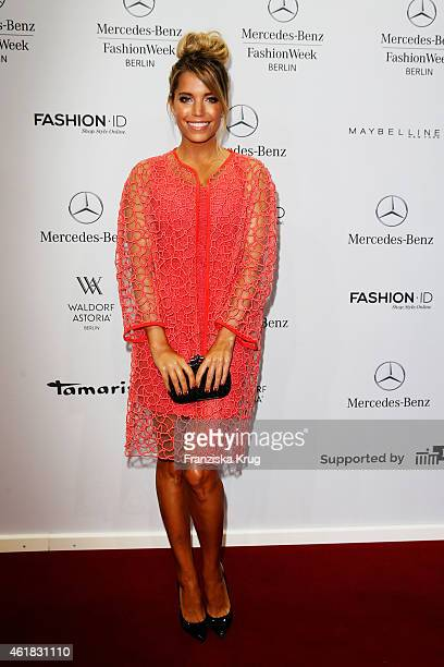 Sylvie Meis attends the Marc Cain show during the MercedesBenz Fashion Week Berlin Autumn/Winter 2015/16 at Brandenburg Gate on January 20 2015 in...