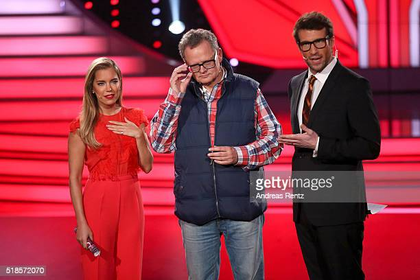 Sylvie Meis Ulli Potofski and Daniel Hartwich are seen on stage during the 3rd show of the television competition 'Let's Dance' on April 1 2016 in...