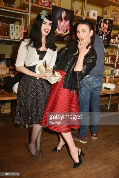 Sylvie Ortega Munos and Elsa Oesinger attend the Filles A Cotelettes Party Hosted by Grand Seigneur Magazine at Grocery/Bar Bel Ordinaire on June 18...