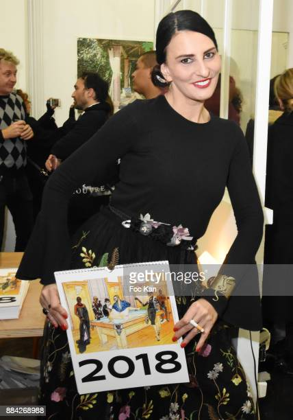 Sylvie Ortega Munos attends Lenedy Angot Calendar 2018 launch at Galerie Fabrice Hybert on December 1 2017 in Paris France