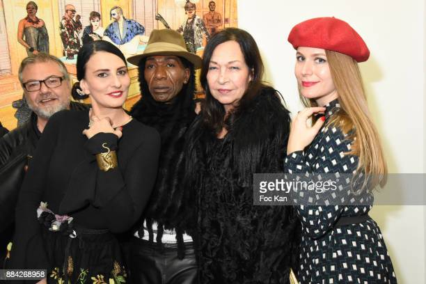 Sylvie Ortega Munos Christine Mingo Dexter Dex Tao and Sarah Paris Frivole attend Lenedy Angot Calendar 2018 launch at Galerie Fabrice Hybert on...