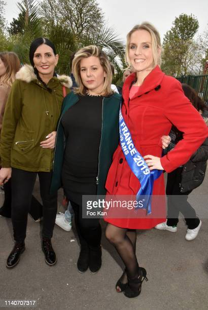 Sylvie Ortega Munos, Secret Story3 TV comedian Cindy Lopes and Mme France 2019 Comite Miss Nationale Sandra Ferreira attend Foire du Trone 2019...