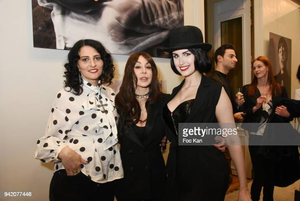 Sylvie Ortega Munos Stefanie Renoma and Elsa Oesinger attend the Faux Semblants Stefanie Renoma Exhibition Preview At Mairie du 8eme on April 4 2018...