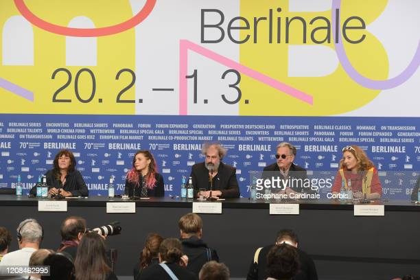 Sylvie Pialat Blanche Gardin Gustave Kervern Benoit Delepine and Corinne Masiero attend the Delete History press conference during the 70th Berlinale...
