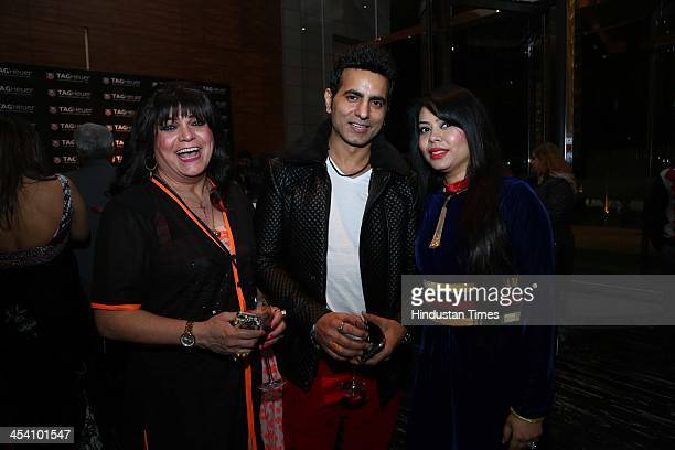 Sylvie Rodgers Indian hair stylist with fashion designers Bharat and Reshma Grover during the launch of TAG Heuers Carrera Calibre 1887 Jack Heuer...