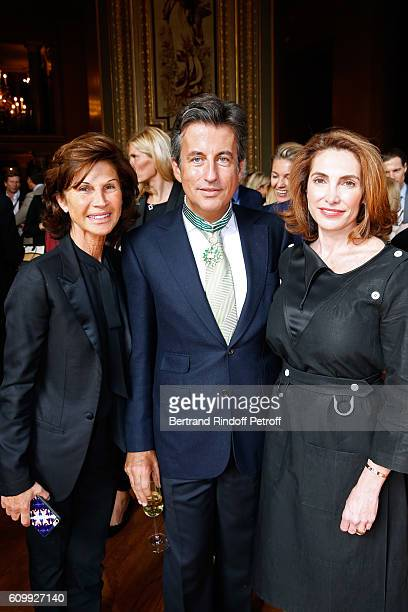 Sylvie Rousseau Cyril Karaoglan and Nathalie de Gunzburg attend Cyril Karaoglan receives the Medal of Commander of Arts and Letters at Opera Garnier...