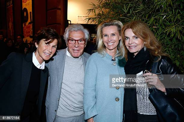 Sylvie Rousseau JeanDaniel Lorieux his companion Laura Restelli and Cyrielle Clair attend the 'Ivo Livi ou le destin d'Yves Montand' Theater Play at...