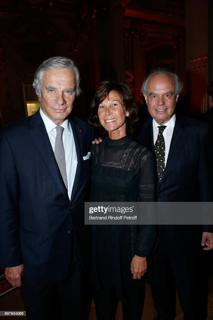 Sylvie Rousseau standing between Frederic Mitterrand (R) and his brother Jean-Gabriel Mitterrand (L) attend the 'Societe ses Amis du Musee d'Orsay' : Dinner Party at Musee d'Orsay on June 19, 2017 in Paris, France.