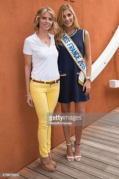 Sylvie Tellier and Miss France 2015 Camille Cerf attend the French open at Roland Garros on June 2 2015 in Paris France