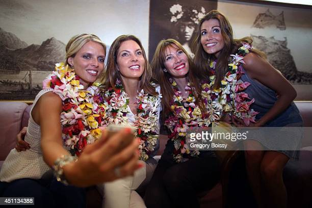 Sylvie Tellier Mareva Georges Mareva Galanter and Alexandra Rosenfeld pose during the Tahiti Graffiti Festival on June 23 2014 in Papeete French...