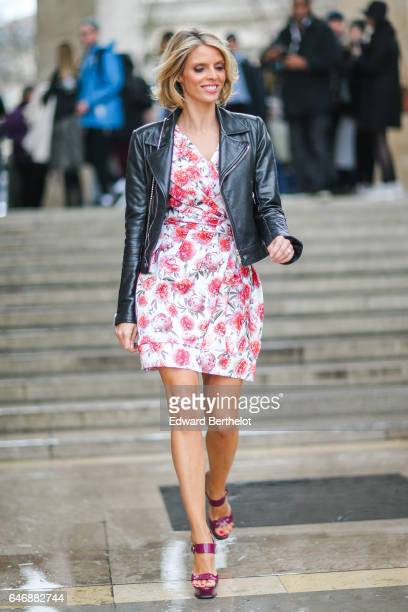 Sylvie Tellier Miss France 2002 is seen outside the Rochas show during Paris Fashion Week Womenswear Fall/Winter 2017/2018 on March 1 2017 in Paris...