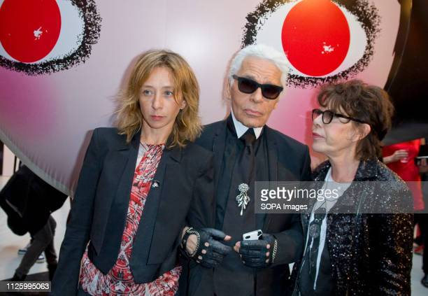 Sylvie Testut Karl Lagerfeld and Dani attends at the Sho Uemura event at Espace Commines in Paris German fashion designer and creative director for...