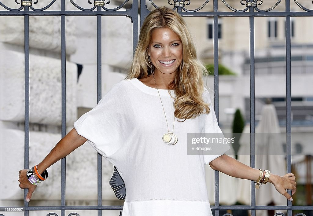 Sylvie van der Vaart poses during a photo shoot at the players hotel of the Dutch National team during the Euro 2008 on June 8, 2008 in Lausanne, Switzerland.