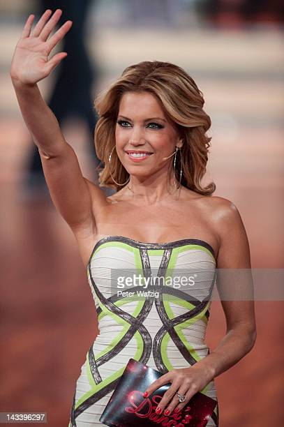 Sylvie van der Vaart waves at the audience during 'Let's Dance' 7th Show at Coloneum on April 25 2012 in Cologne Germany