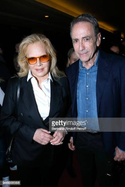 Sylvie Vartan and Alain Chamfort pose after Sylvie Vartan performs at Le Grand Rex on April 14 2018 in Paris France
