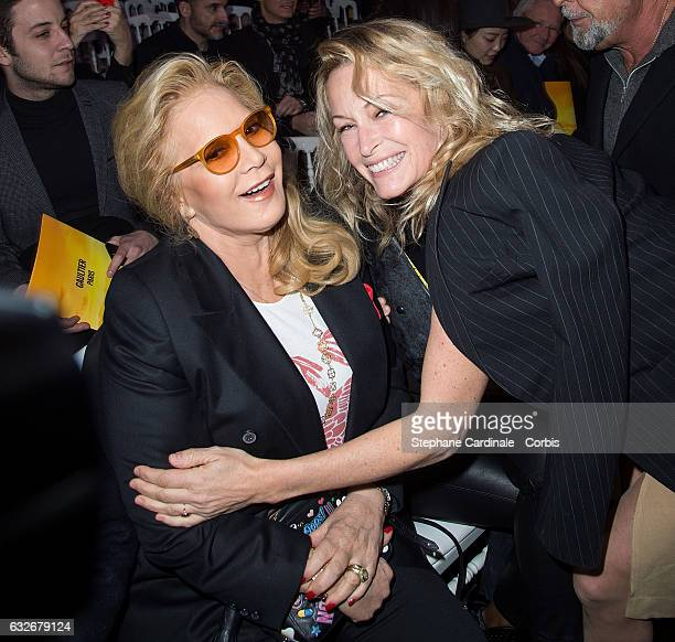 Sylvie Vartan and Estelle Lefebure attend the Jean Paul Gaultier Haute Couture Spring Summer 2017 show as part of Paris Fashion Week on January 25...