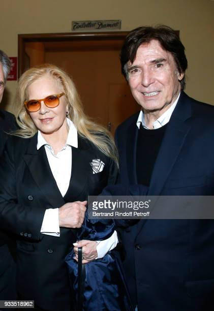 Sylvie Vartan and her husband Tony Scotti pose after Sylvie Vartan performed at Le Grand Rex on March 16 2018 in Paris France