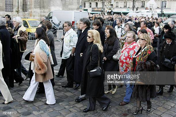 Sylvie Vartan and his husband Tony Scotti arrives at St Germain church to attend the funeral mass of singer Carlos on January 22 2008 in Paris France