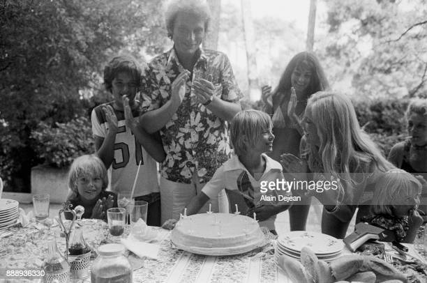 Sylvie Vartan and Johnny Hallyday celebrating their son David's 9th birthday, Biarritz, France 14th August 1975