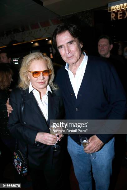 Sylvie Vartan and Tony Scotti pose after Sylvie Vartan performs at Le Grand Rex on April 14 2018 in Paris France