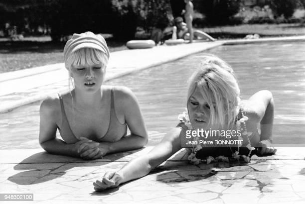 Sylvie Vartan et Brigitte Bardot dans une piscine en mai 1967 à Rome Italie