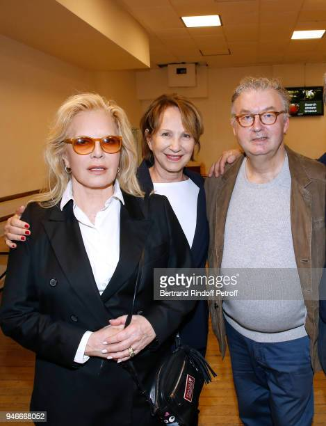 Sylvie Vartan Nathalie Baye and Dominique Besnehard pose after Sylvie Vartan performs at Le Grand Rex on April 14 2018 in Paris France