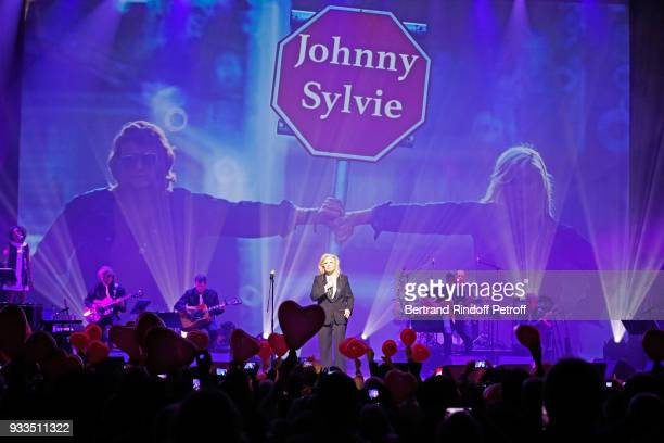 Sylvie Vartan paying tribute to Johnny Hallyday as she performs at Le Grand Rex on March 16, 2018 in Paris, France.