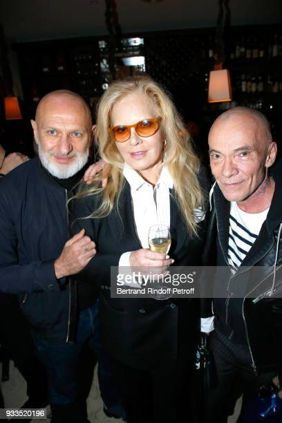 Sylvie Vartan standing between Pierre Gilles attend the Dinner at Waknine Restaurant after Sylvie Vartan performed at Le Grand Rex on March 16 2018...