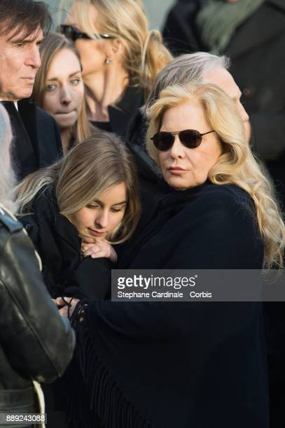 Sylvie Vartan with her daughter Darina during Johnny Hallyday's Funeral at Eglise De La Madeleine on December 9 2017 in Paris France France pays...