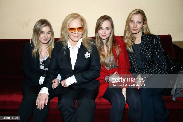 Sylvie Vartan with her daughter Darina ScottiVartan and her granddaughters Emma Smet and Ilona Smet pose after Sylvie Vartan performed at Le Grand...