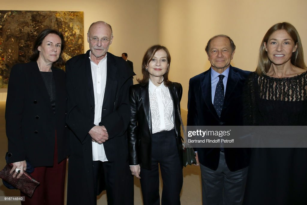 Sylvie Winckler, Anselm Kiefer, Isabelle Huppert, Jean Claude Meyer and Nathalie Bloch Laine attend the 'Fur Andrea Emo' Anselm Kiefer's Exhibition at Thaddeus Ropac Gallery on February 10, 2018 in Paris, France.