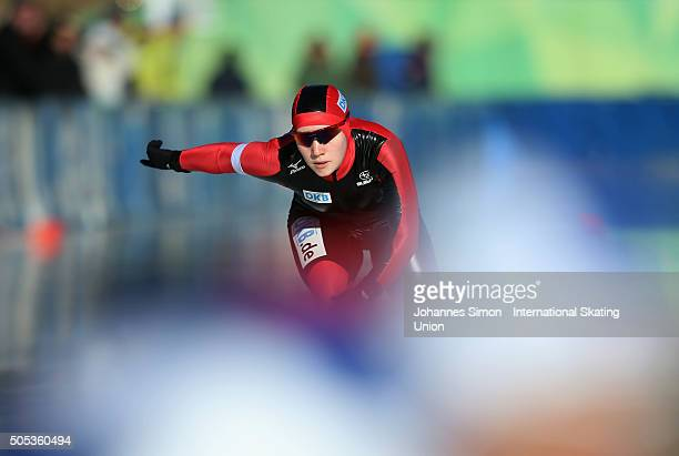 Sylvie Zehmisch of Germany competes in the ladies 1000 m heats during day 2 of ISU speed skating junior world cup at ice rink Pine stadium on January...